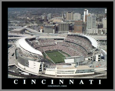 NFL - Cincinnati Bengals - Paul Brown Stadium Aerial - Sm - Plaque Mounted & Laminated Print