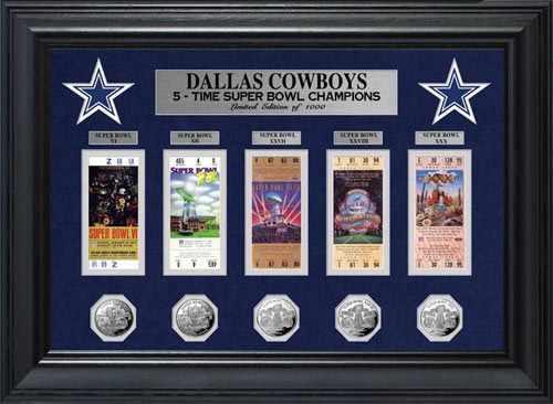 NFL - Dallas Cowboys - Super Bowl 30 XXX - Tickets - Coins - Framed Picture
