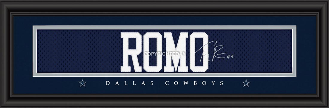 NFL - Dallas Cowboys - Signature Jersey Nameplate - Tony Romo - Framed Picture
