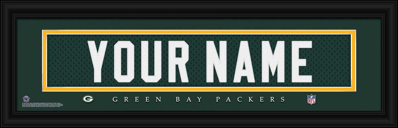 NFL - Green Bay Packers - Personalized Jersey Nameplate - Framed Picture