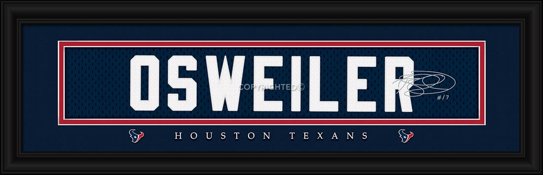NFL - Houston Texans - Signature Jersey Nameplate - Brock Osweiler - Framed Picture