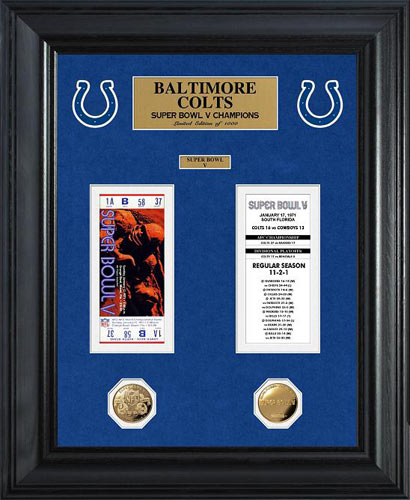 NFL - Indianapolis Colts - Super Bowl 5 V - Tickets - Coins - Framed Picture