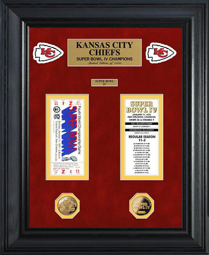NFL - Kansas City Chiefs - Super Bowl 4 IV - Tickets - Coins - Framed Picture