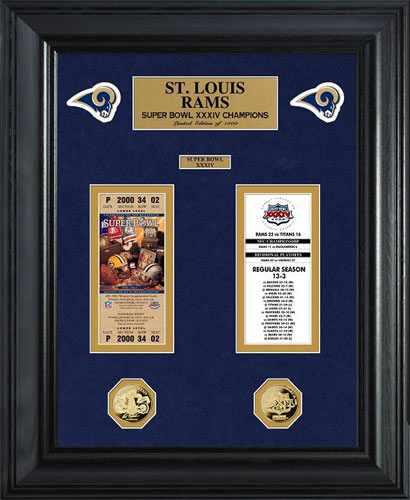 NFL - Los Angeles Rams - Super Bowl 34 XXXIV - Tickets - Coins - Framed Picture