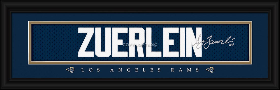 NFL - Los Angeles Rams - Signature Jersey Nameplate - Greg Zuerlein - Framed Picture