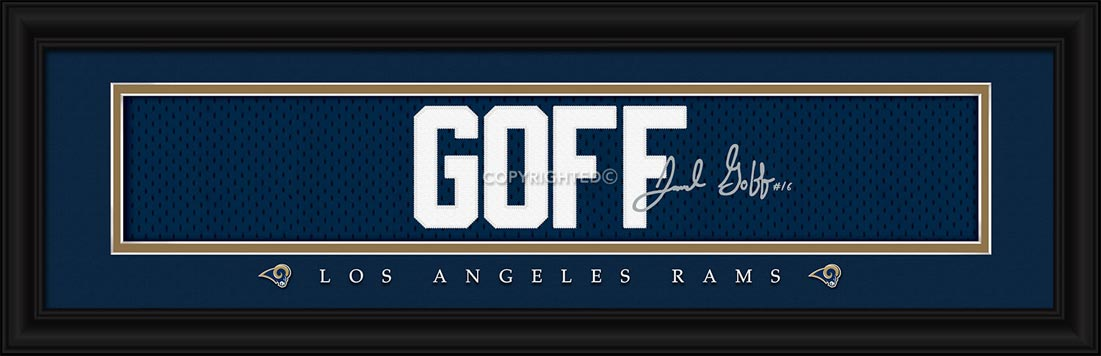 NFL - Los Angeles Rams - Signature Jersey Nameplate - Jared Goff - Framed Picture
