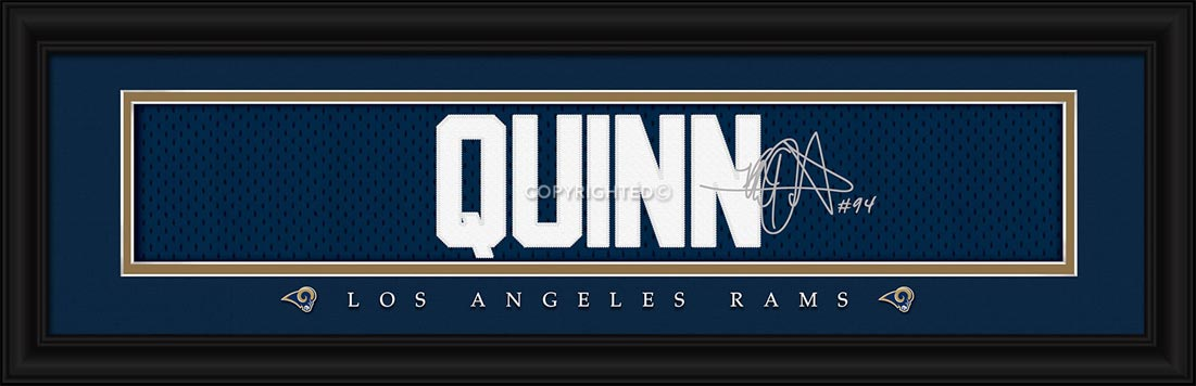 NFL - Los Angeles Rams - Signature Jersey Nameplate - Robert Quinn - Framed Picture