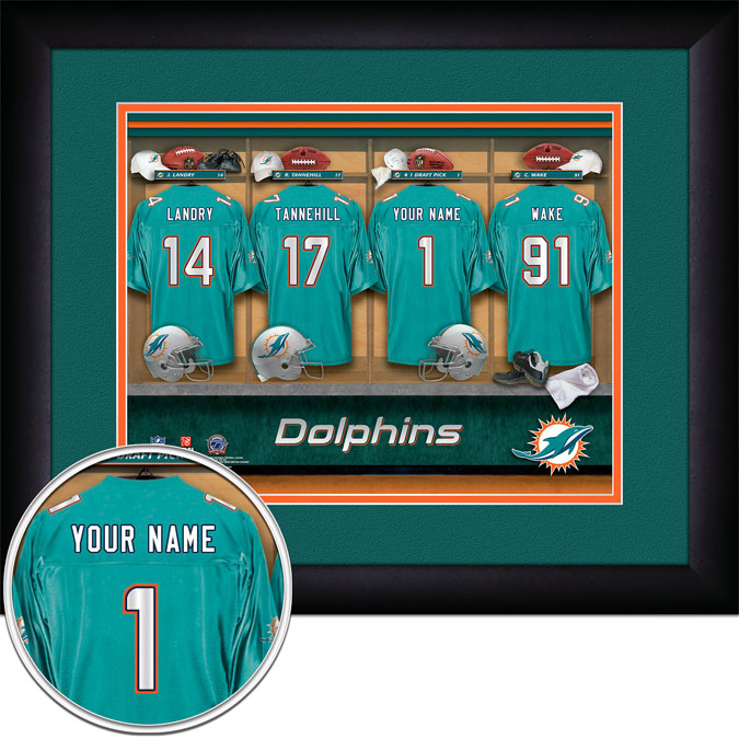 NFL - Miami Dolphins - Personalized Locker Room - Framed Picture
