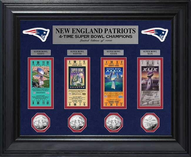 NFL - New England Patriots - Super Bowl 49 XLIX - Tickets - Coins - Framed Picture