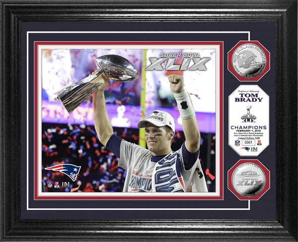 NFL - New England Patriots - Super Bowl 49 XLIX - Brady - Trophy - Framed Picture