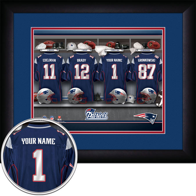 NFL - New England Patriots - Personalized Locker Room - Framed Picture
