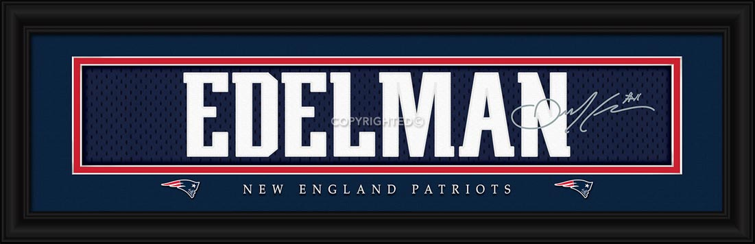 NFL - New England Patriots - Signature Jersey Nameplate - Julian Edelman - Framed Picture