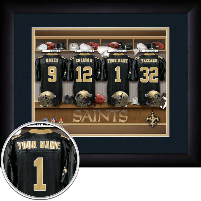 NFL - New Orleans Saints - Personalized Locker Room - Framed Picture