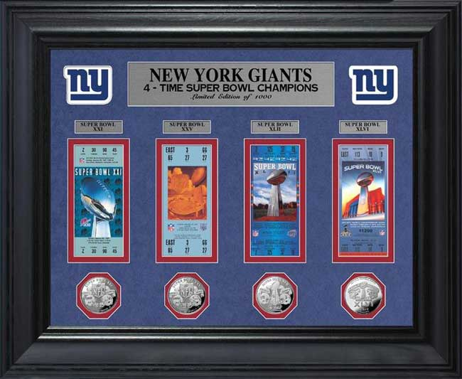 NFL - New York Giants - Super Bowl 46 XLVI - Tickets - Coins - Framed Picture