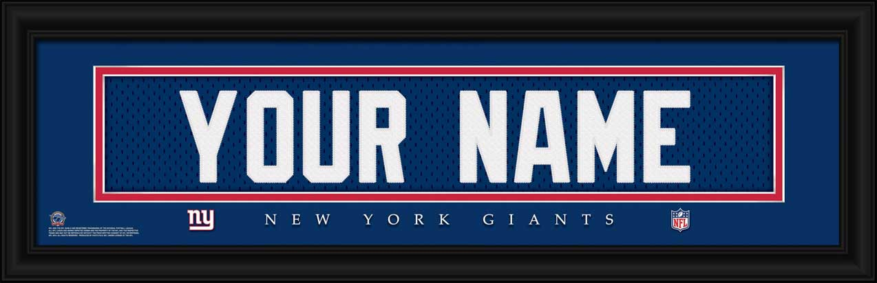 NFL - New York Giants - Personalized Jersey Nameplate - Framed Picture