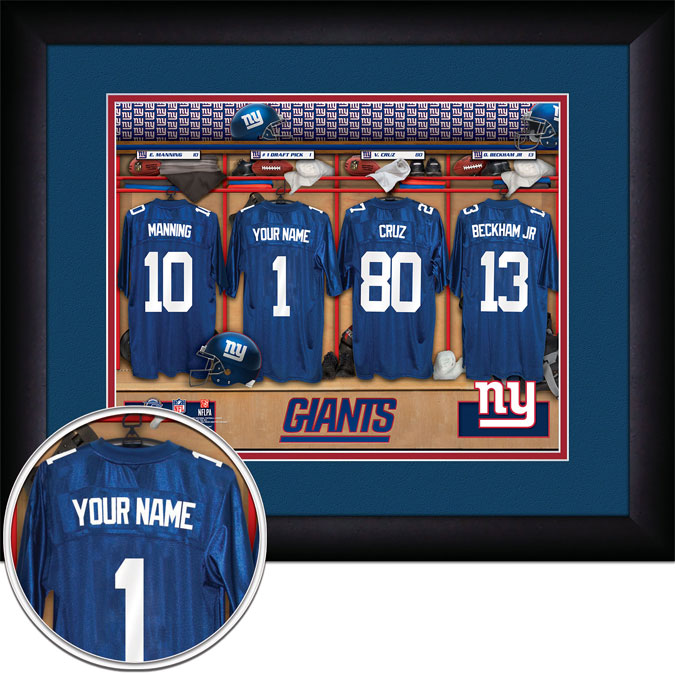 NFL - New York Giants - Personalized Locker Room - Framed Picture