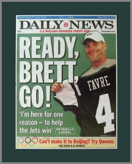 NFL - New York Jets - DN - Ready Brett Go - Favre Trade - Plaque Mounted & Laminated Newspaper
