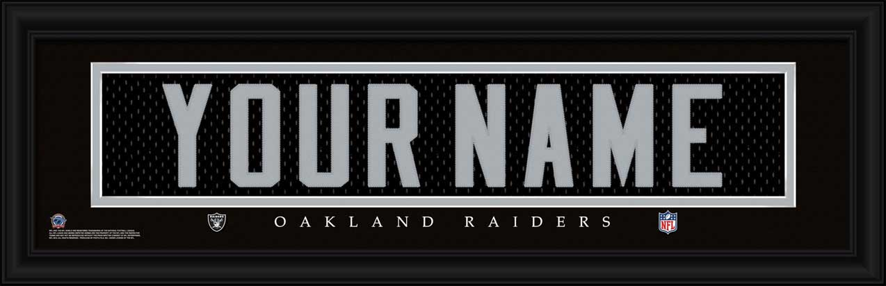 NFL - Oakland Raiders - Personalized Jersey Nameplate - Framed Picture