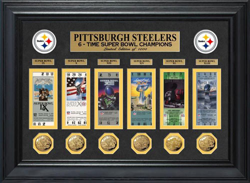 NFL - Pittsburgh Steelers - Super Bowl 43 XLIII - Tickets - Coins - Framed Picture