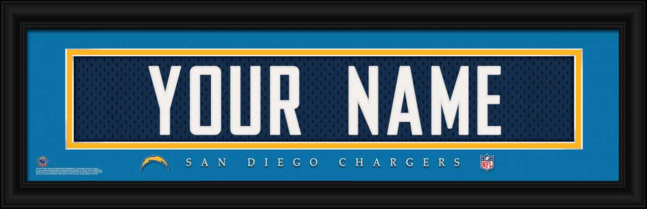 NFL - San Diego Chargers - Personalized Jersey Nameplate - Framed Picture
