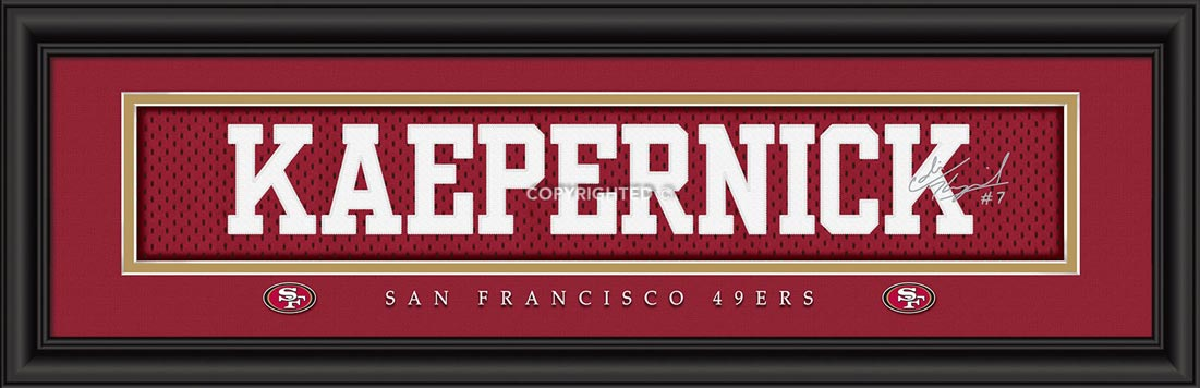 NFL - San Francisco 49ers - Signature Jersey Nameplate - Colin Kaepernick - Framed Picture