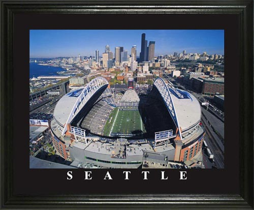 NFL - Seattle Seahawks - Qwest Field Aerial - Lg - Framed Picture