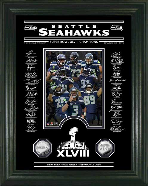 NFL - Seattle Seahawks - Super Bowl 48 XLVIII - Etched Signatures - Framed Picture