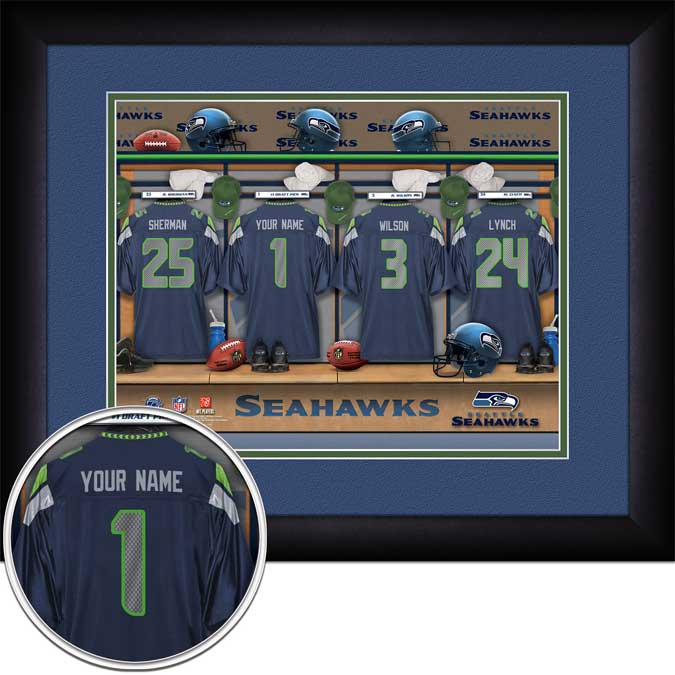 NFL - Seattle Seahawks - Personalized Locker Room - Framed Picture