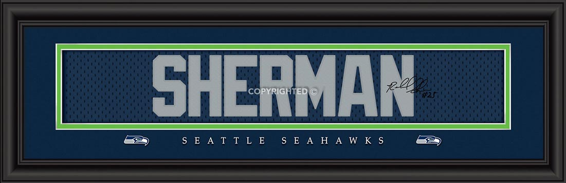 NFL - Seattle Seahawks - Signature Jersey Nameplate - Richard Sherman - Framed Picture