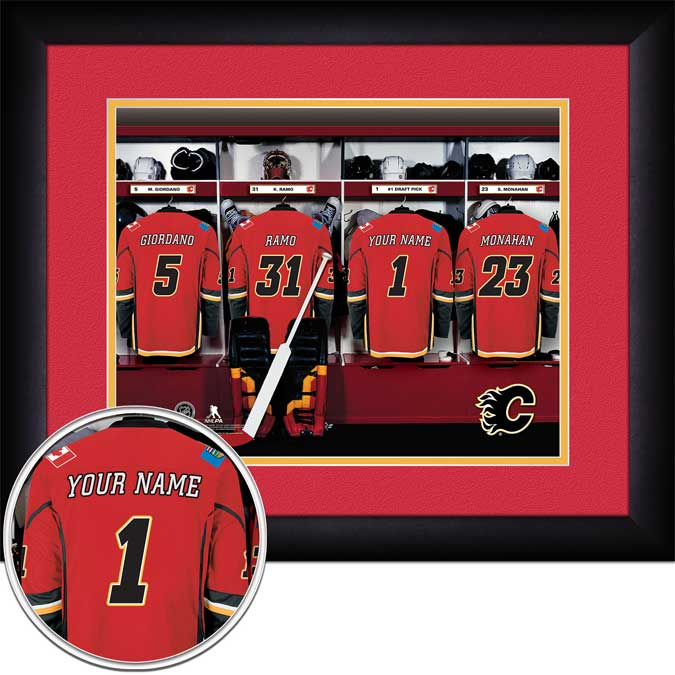 NHL - Calgary Flames - Personalized Locker Room - Framed Picture
