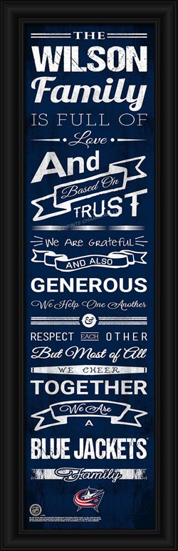 NHL - Columbus Blue Jackets - Personalized Family Cheer - Framed Picture