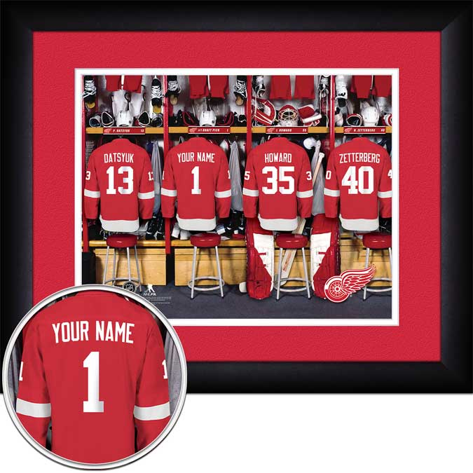 NHL - Detroit Red Wings - Personalized Locker Room - Framed Picture