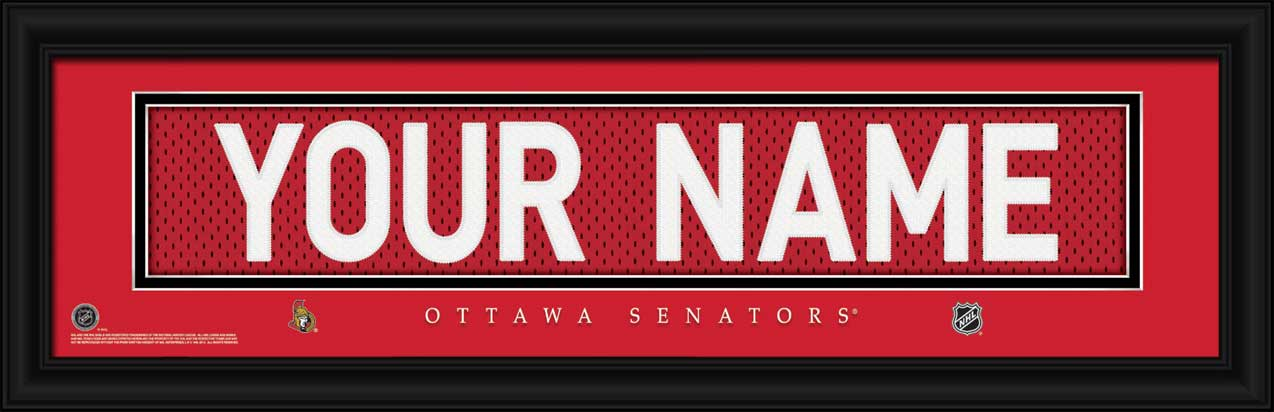 NHL - Ottawa Senators - Personalized Jersey Nameplate - Framed Picture