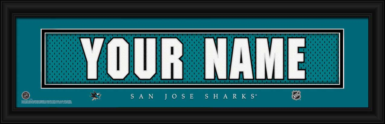 NHL - San Jose Sharks - Personalized Jersey Nameplate - Framed Picture